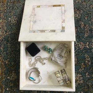 White Marble Jewelry Box with Mother of pearl Lid